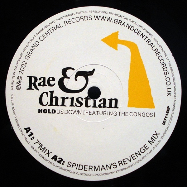 "Rae & Christian - Hold Us Down (12"" label)"